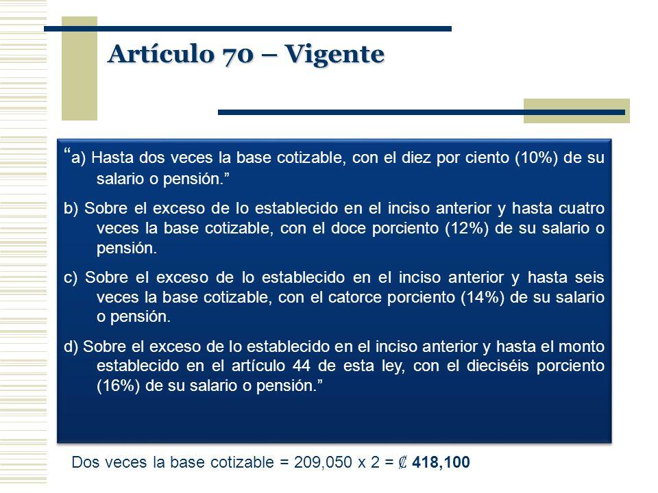 Artículo 70 – Vigente a) Hasta dos veces la base cotizable, con el diez por ciento (10%) de su salario o pensión. b) Sobre el exceso de lo establecido