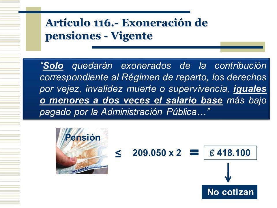 Artículo 116.- Exoneración de pensiones - Vigente Solo quedarán exonerados de la contribución correspondiente al Régimen de reparto, los derechos por