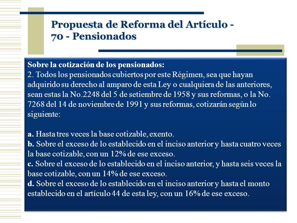 Sobre la cotización de los pensionados: 2. Todos los pensionados cubiertos por este Régimen, sea que hayan adquirido su derecho al amparo de esta Ley