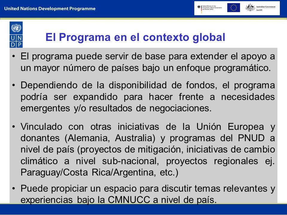 El programa puede servir de base para extender el apoyo a un mayor número de países bajo un enfoque programático.
