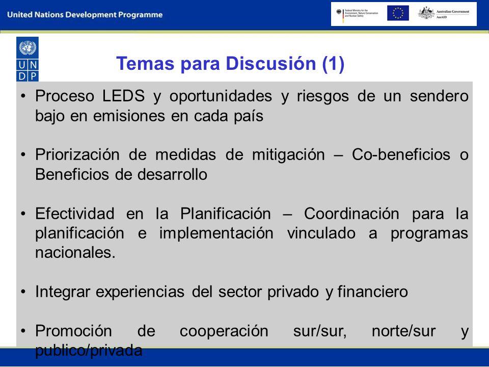 Proceso LEDS y oportunidades y riesgos de un sendero bajo en emisiones en cada país Priorización de medidas de mitigación – Co-beneficios o Beneficios de desarrollo Efectividad en la Planificación – Coordinación para la planificación e implementación vinculado a programas nacionales.