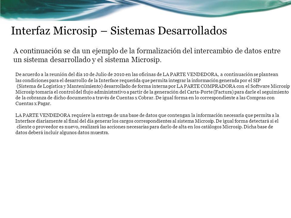 Interfaz Microsip – Sistemas Desarrollados A continuación se da un ejemplo de la formalización del intercambio de datos entre un sistema desarrollado