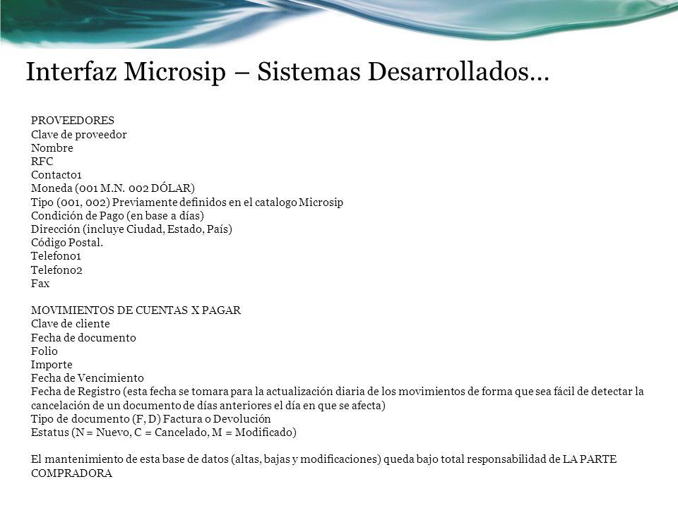 Interfaz Microsip – Sistemas Desarrollados… PROVEEDORES Clave de proveedor Nombre RFC Contacto1 Moneda (001 M.N. 002 DÓLAR) Tipo (001, 002) Previament