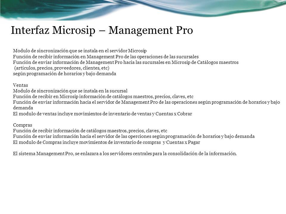 Interfaz Microsip – Management Pro Modulo de sincronización que se instala en el servidor Microsip Función de recibir información en Management Pro de
