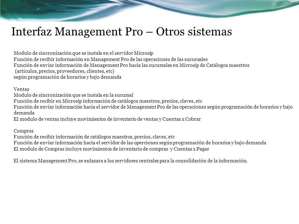 Interfaz Management Pro – Otros sistemas Modulo de sincronización que se instala en el servidor Microsip Función de recibir información en Management
