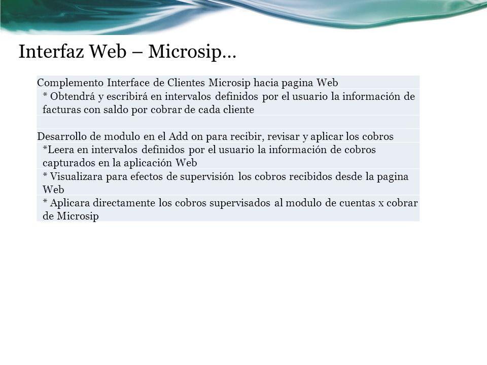 Interfaz Web – Microsip… Complemento Interface de Clientes Microsip hacia pagina Web * Obtendrá y escribirá en intervalos definidos por el usuario la