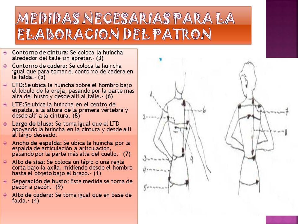 Contorno de cintura: Se coloca la huincha alrededor del talle sin apretar.- (3) Contorno de cadera: Se coloca la huincha igual que para tomar el contorno de cadera en la falda.- (5) LTD:Se ubica la huincha sobre el hombro bajo el lóbulo de la oreja, pasando por la parte más alta del busto y desde allí al talle.- (6) LTE:Se ubica la huincha en el centro de espalda, a la altura de la primera vértebra y desde allí a la cintura.