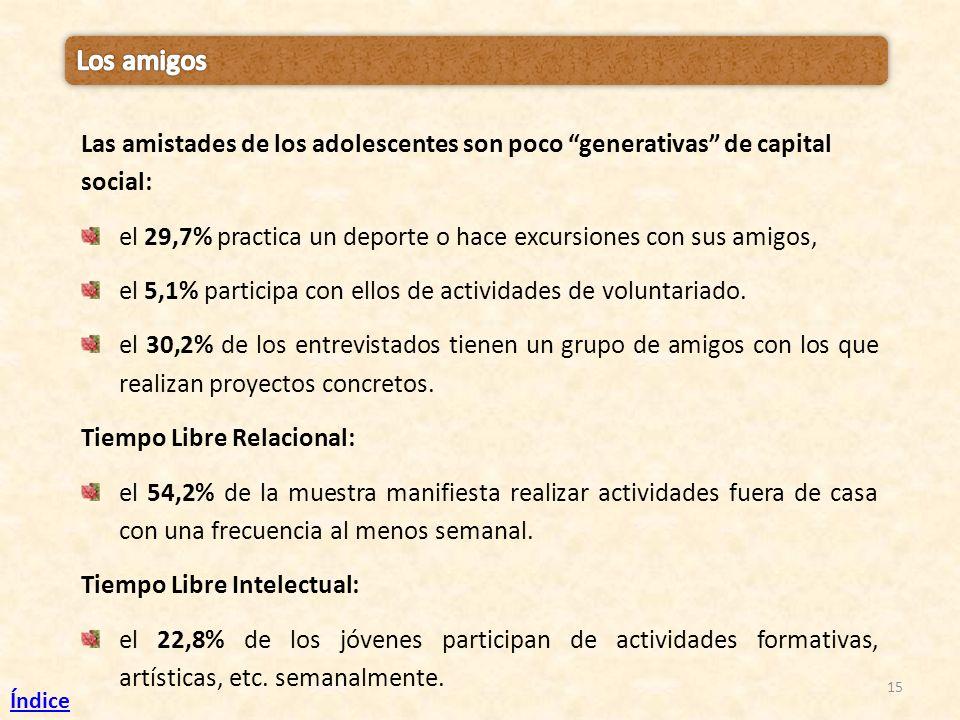 15 Las amistades de los adolescentes son poco generativas de capital social: el 29,7% practica un deporte o hace excursiones con sus amigos, el 5,1% p