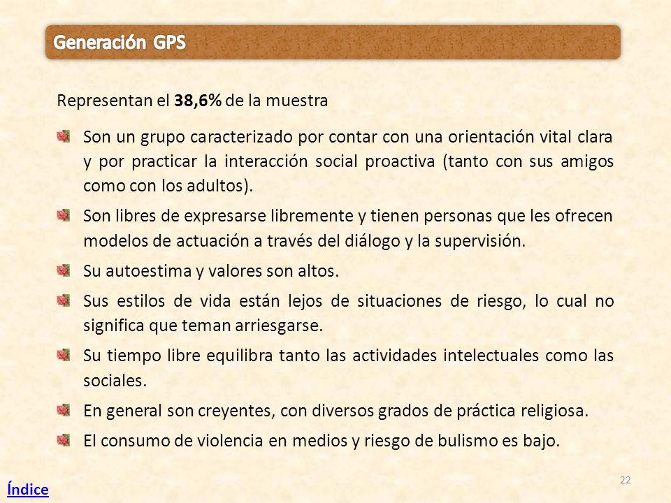 22 Representan el 38,6% de la muestra Son un grupo caracterizado por contar con una orientación vital clara y por practicar la interacción social proa