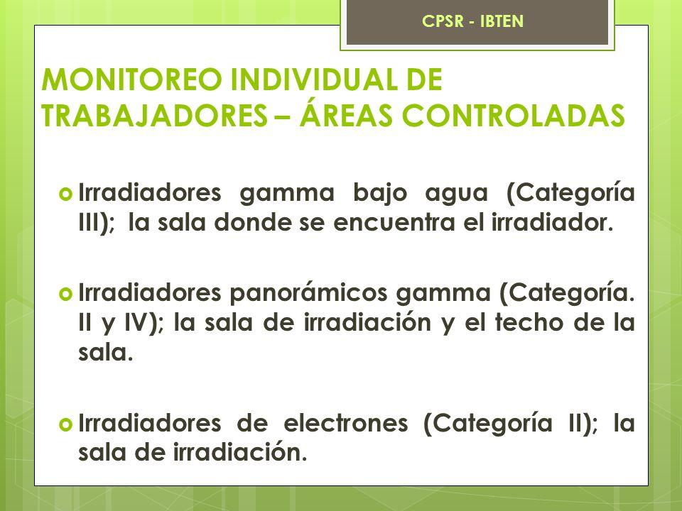 MONITOREO INDIVIDUAL DE TRABAJADORES – ÁREAS CONTROLADAS Irradiadores gamma bajo agua (Categoría III); la sala donde se encuentra el irradiador. Irrad