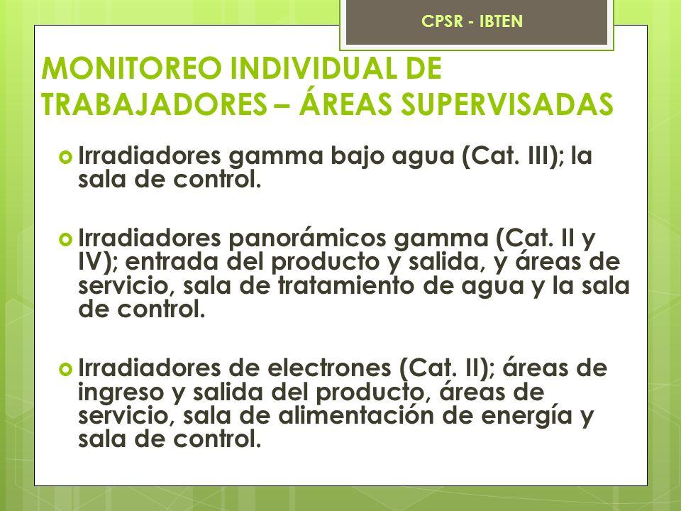 MONITOREO INDIVIDUAL DE TRABAJADORES – ÁREAS SUPERVISADAS Irradiadores gamma bajo agua (Cat. III); la sala de control. Irradiadores panorámicos gamma
