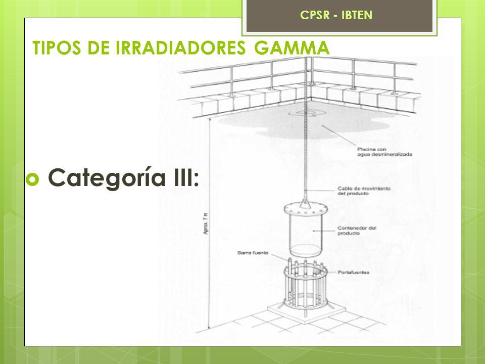 TIPOS DE IRRADIADORES GAMMA Categoría III: CPSR - IBTEN