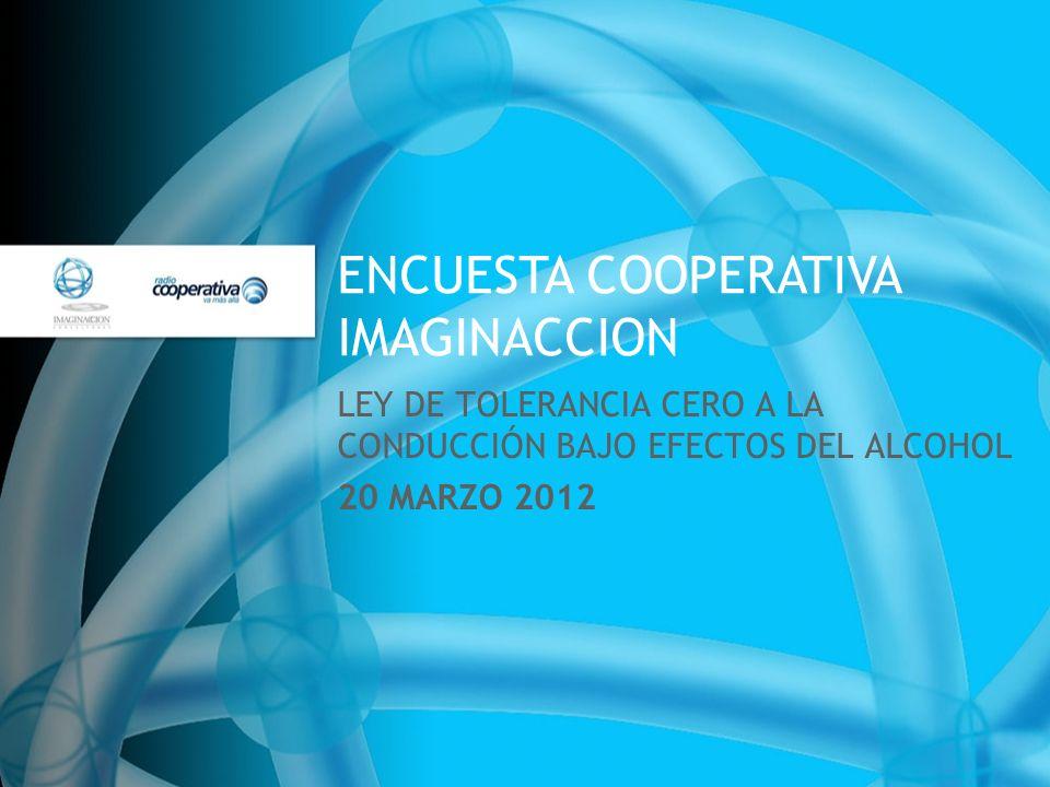 ENCUESTA COOPERATIVA IMAGINACCION LEY DE TOLERANCIA CERO A LA CONDUCCIÓN BAJO EFECTOS DEL ALCOHOL 20 MARZO 2012