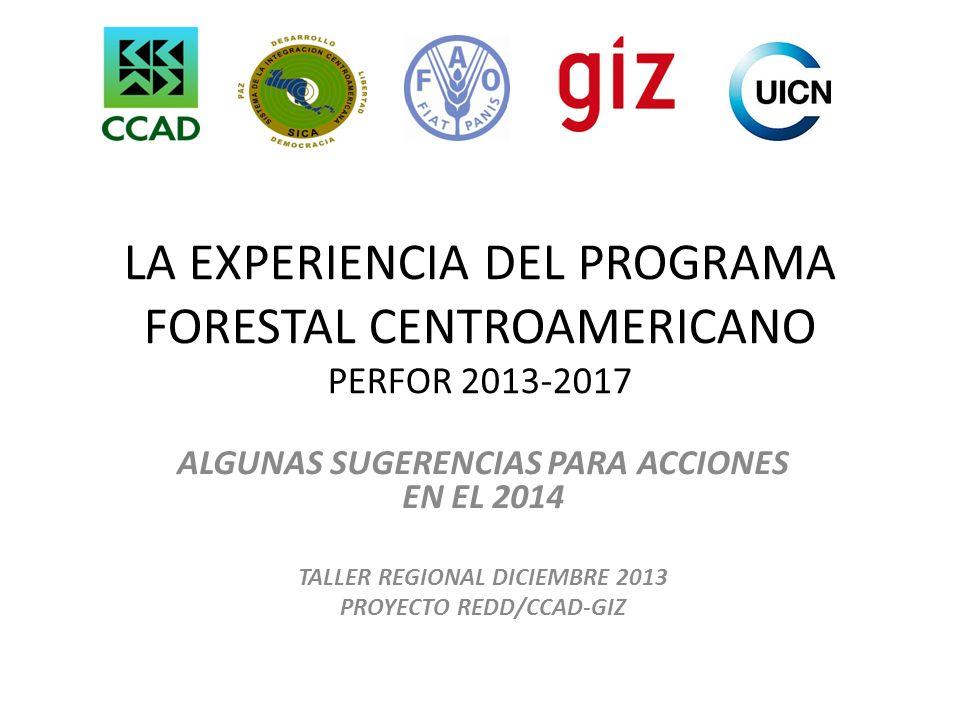 LA EXPERIENCIA DEL PROGRAMA FORESTAL CENTROAMERICANO PERFOR 2013-2017 ALGUNAS SUGERENCIAS PARA ACCIONES EN EL 2014 TALLER REGIONAL DICIEMBRE 2013 PROY