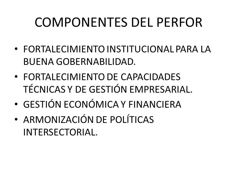 COMPONENTES DEL PERFOR FORTALECIMIENTO INSTITUCIONAL PARA LA BUENA GOBERNABILIDAD. FORTALECIMIENTO DE CAPACIDADES TÉCNICAS Y DE GESTIÓN EMPRESARIAL. G