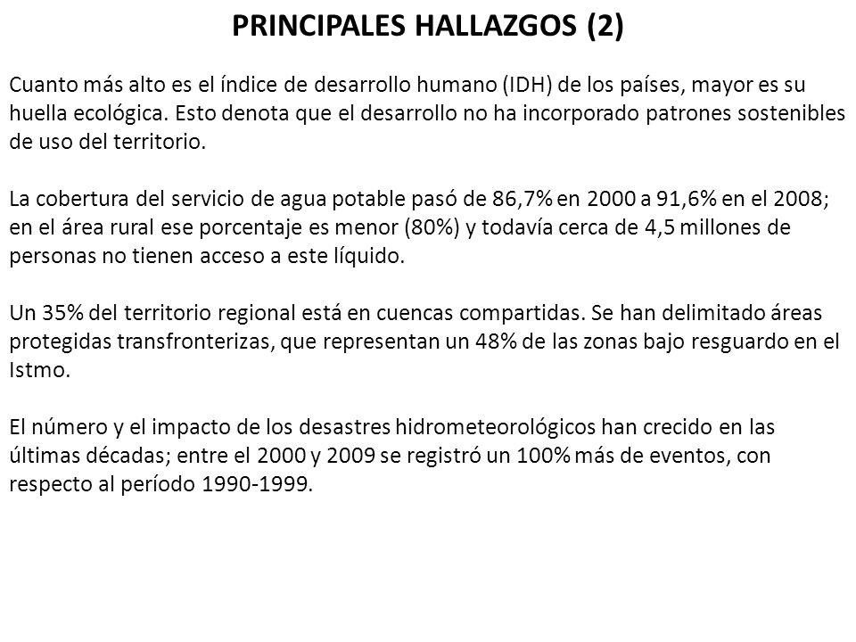 PRINCIPALES HALLAZGOS (2) Cuanto más alto es el índice de desarrollo humano (IDH) de los países, mayor es su huella ecológica. Esto denota que el desa
