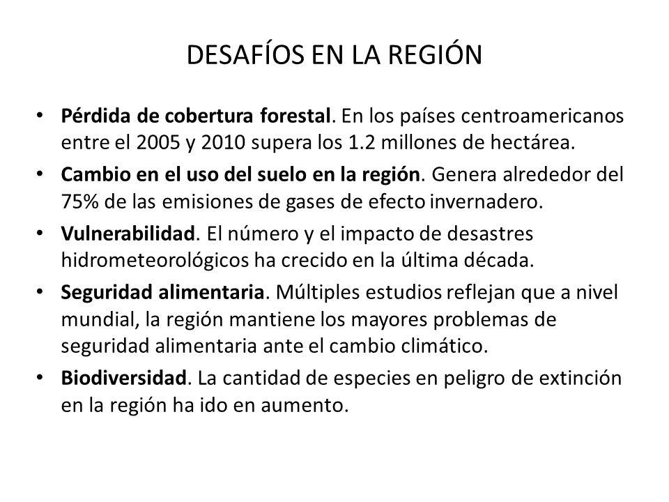 DESAFÍOS EN LA REGIÓN Pérdida de cobertura forestal. En los países centroamericanos entre el 2005 y 2010 supera los 1.2 millones de hectárea. Cambio e