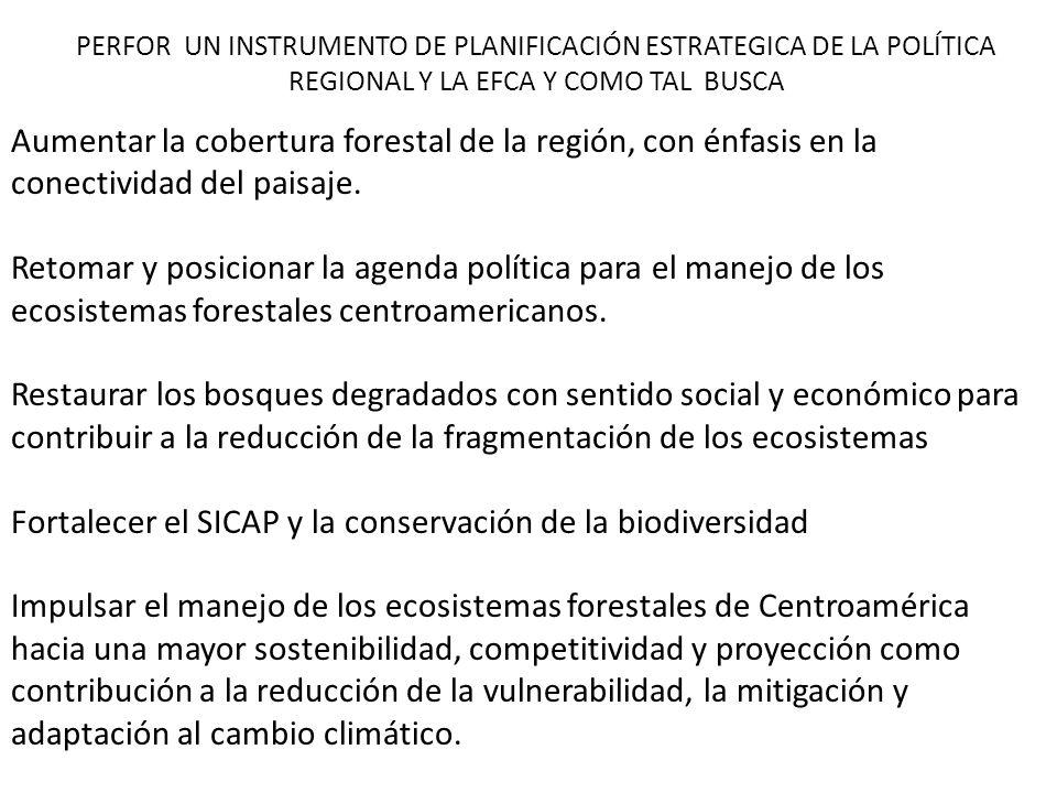 PERFOR UN INSTRUMENTO DE PLANIFICACIÓN ESTRATEGICA DE LA POLÍTICA REGIONAL Y LA EFCA Y COMO TAL BUSCA Aumentar la cobertura forestal de la región, con
