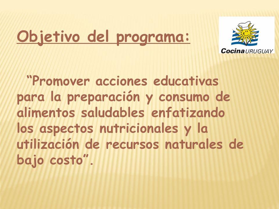 Objetivo del programa: Promover acciones educativas para la preparación y consumo de alimentos saludables enfatizando los aspectos nutricionales y la