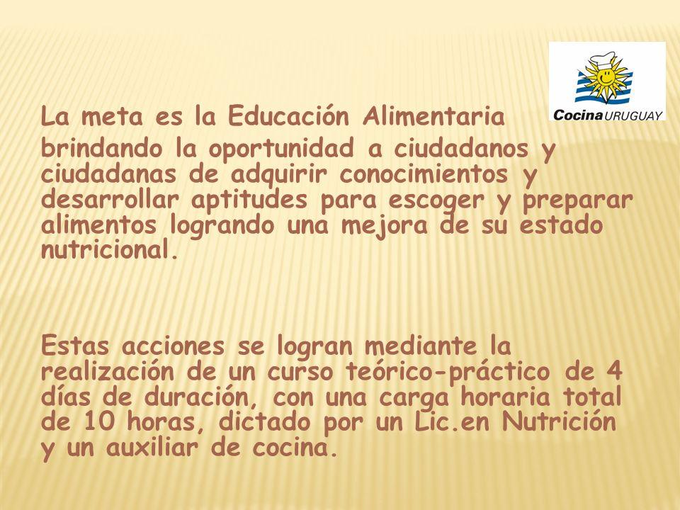 La meta es la Educación Alimentaria brindando la oportunidad a ciudadanos y ciudadanas de adquirir conocimientos y desarrollar aptitudes para escoger