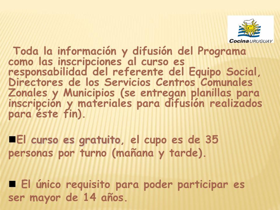 Toda la información y difusión del Programa como las inscripciones al curso es responsabilidad del referente del Equipo Social, Directores de los Serv