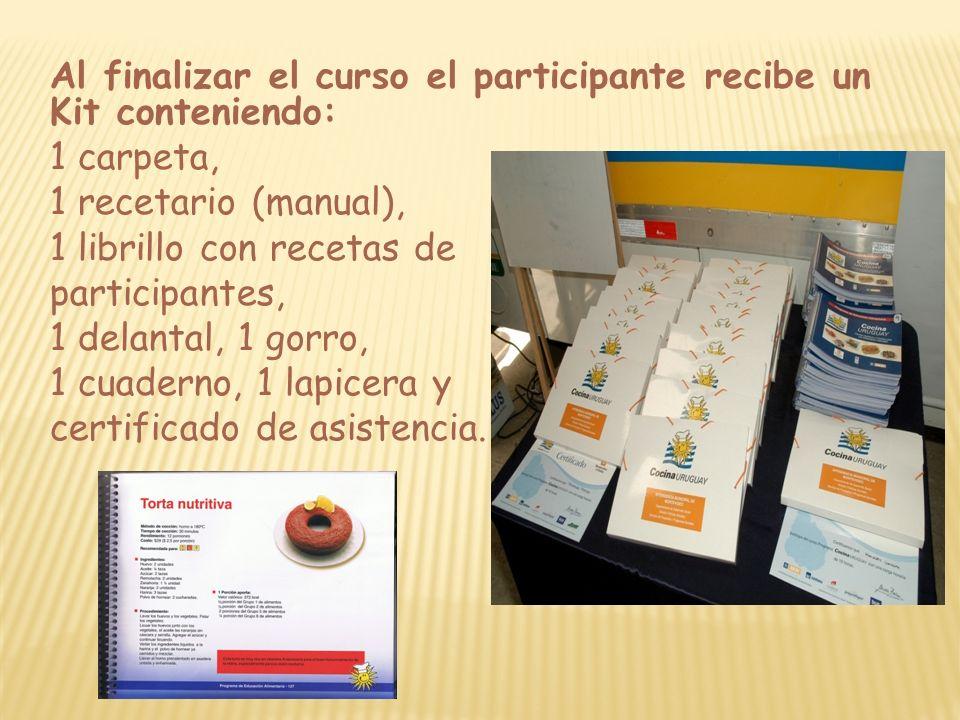 Al finalizar el curso el participante recibe un Kit conteniendo: 1 carpeta, 1 recetario (manual), 1 librillo con recetas de participantes, 1 delantal,