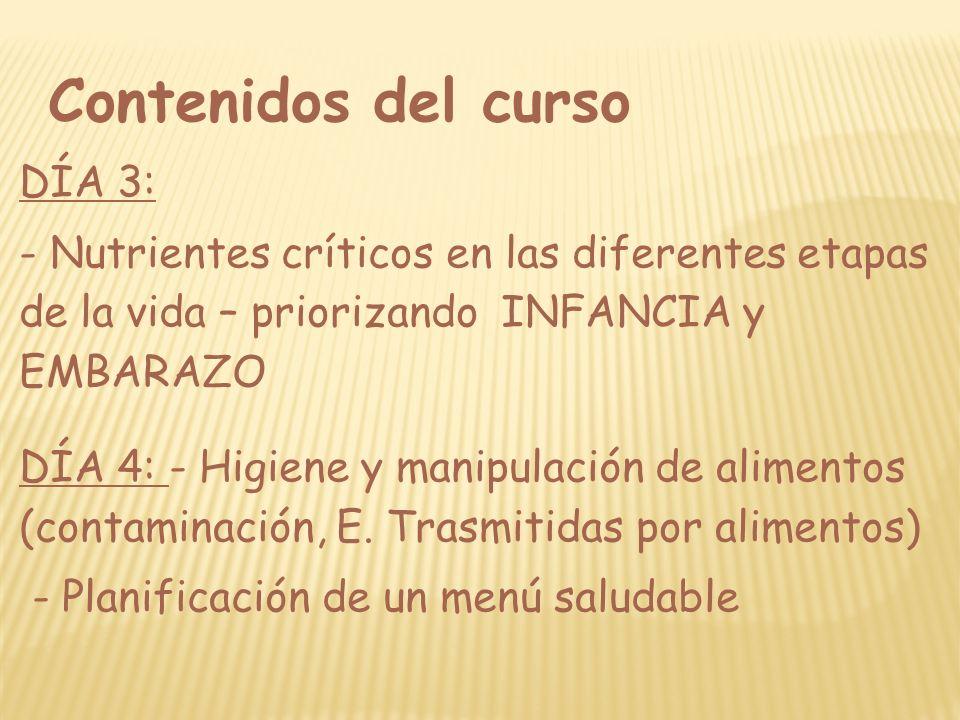 Contenidos del curso DÍA 3: - Nutrientes críticos en las diferentes etapas de la vida – priorizando INFANCIA y EMBARAZO DÍA 4: - Higiene y manipulació