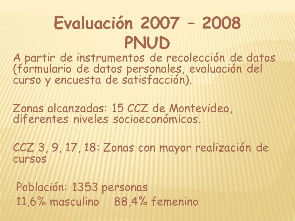 Evaluación 2007 – 2008 PNUD A partir de instrumentos de recolección de datos (formulario de datos personales, evaluación del curso y encuesta de satis