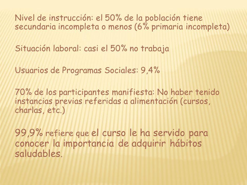 Nivel de instrucción: el 50% de la población tiene secundaria incompleta o menos (6% primaria incompleta) Situación laboral: casi el 50% no trabaja Us
