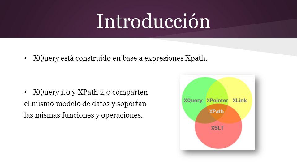 Introducción Ejemplos de uso Extraer información para usar en un Web Service Generar reportes XQuery como alternativa a XLST: permite realizar transformaciones de datos en XML a otro tipo de representaciones, como HTML o PDF.