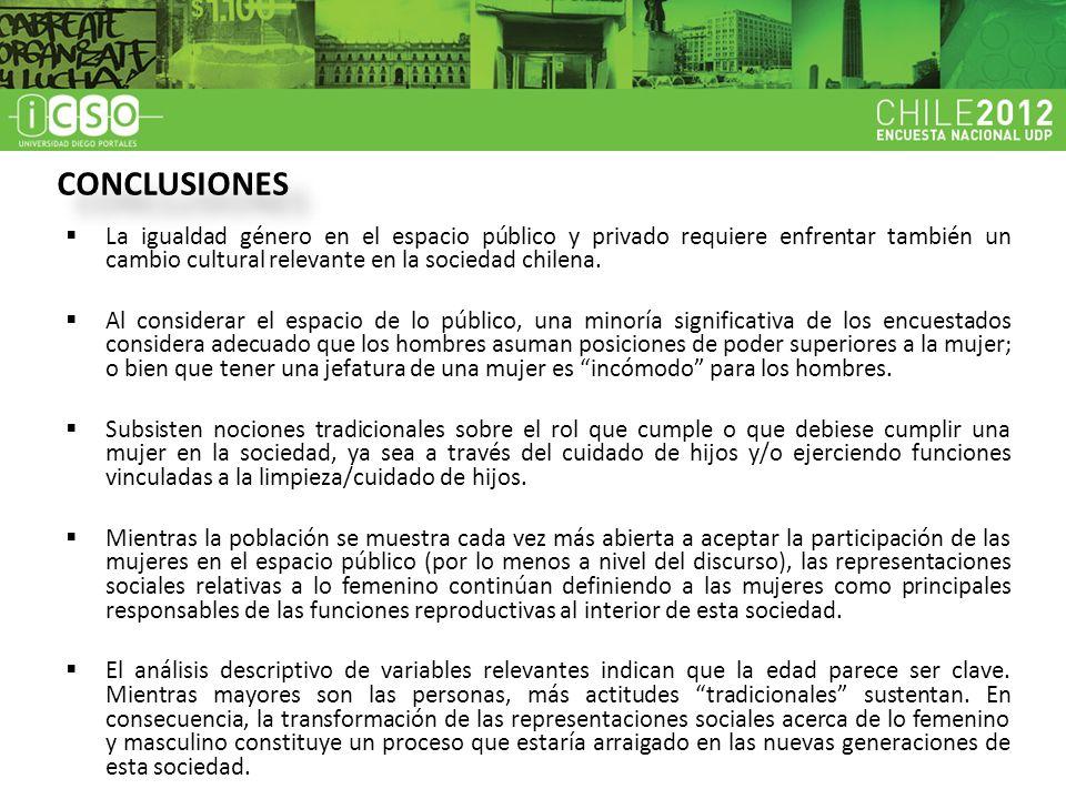 La igualdad género en el espacio público y privado requiere enfrentar también un cambio cultural relevante en la sociedad chilena.