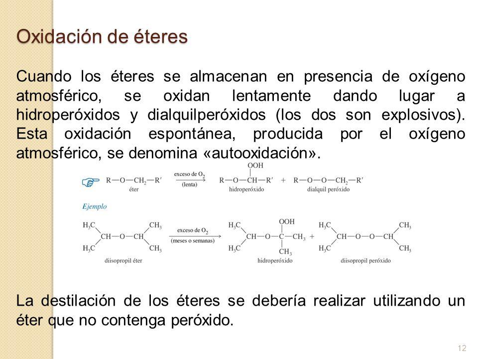 Oxidación de éteres Cuando los éteres se almacenan en presencia de oxígeno atmosférico, se oxidan lentamente dando lugar a hidroperóxidos y dialquilpe