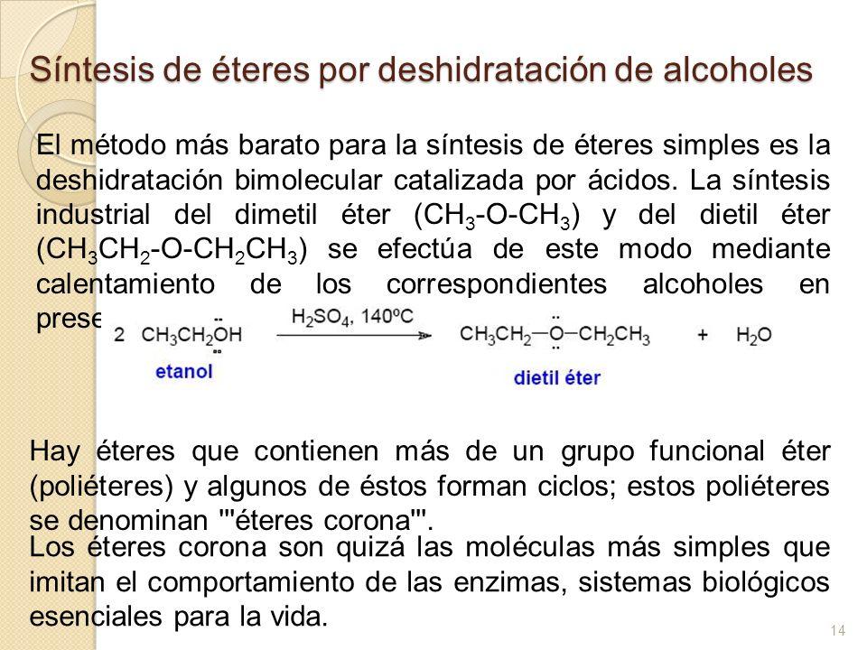 Síntesis de éteres por deshidratación de alcoholes El método más barato para la síntesis de éteres simples es la deshidratación bimolecular catalizada