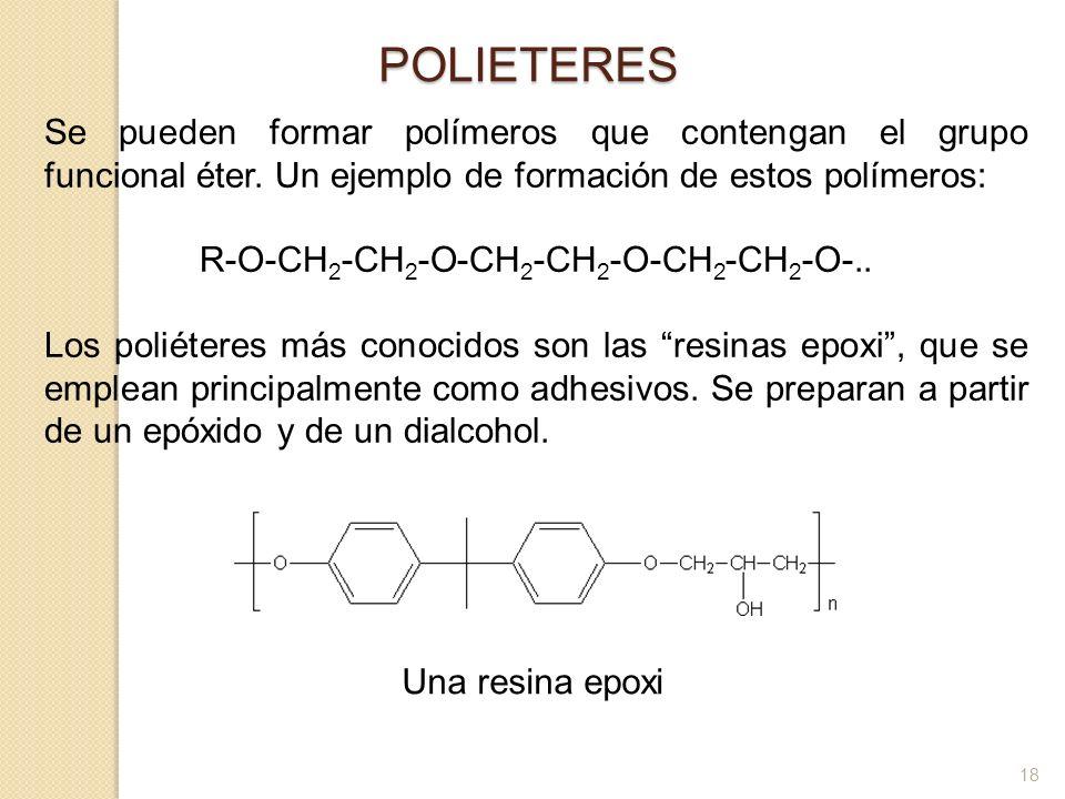 Se pueden formar polímeros que contengan el grupo funcional éter. Un ejemplo de formación de estos polímeros: R-O-CH 2 -CH 2 -O-CH 2 -CH 2 -O-CH 2 -CH