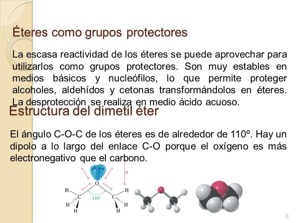 Éteres como grupos protectores La escasa reactividad de los éteres se puede aprovechar para utilizarlos como grupos protectores. Son muy estables en m