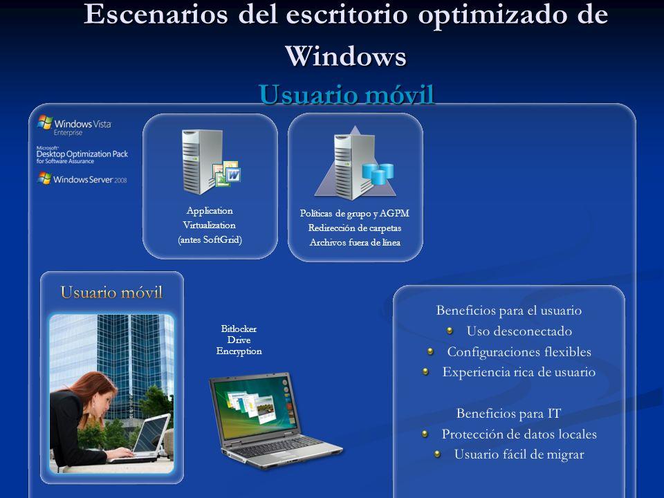 Escenarios del escritorio optimizado de Windows Usuario móvil Bitlocker Drive Encryption Application Virtualization (antes SoftGrid) Políticas de grupo y AGPM Redirección de carpetas Archivos fuera de línea