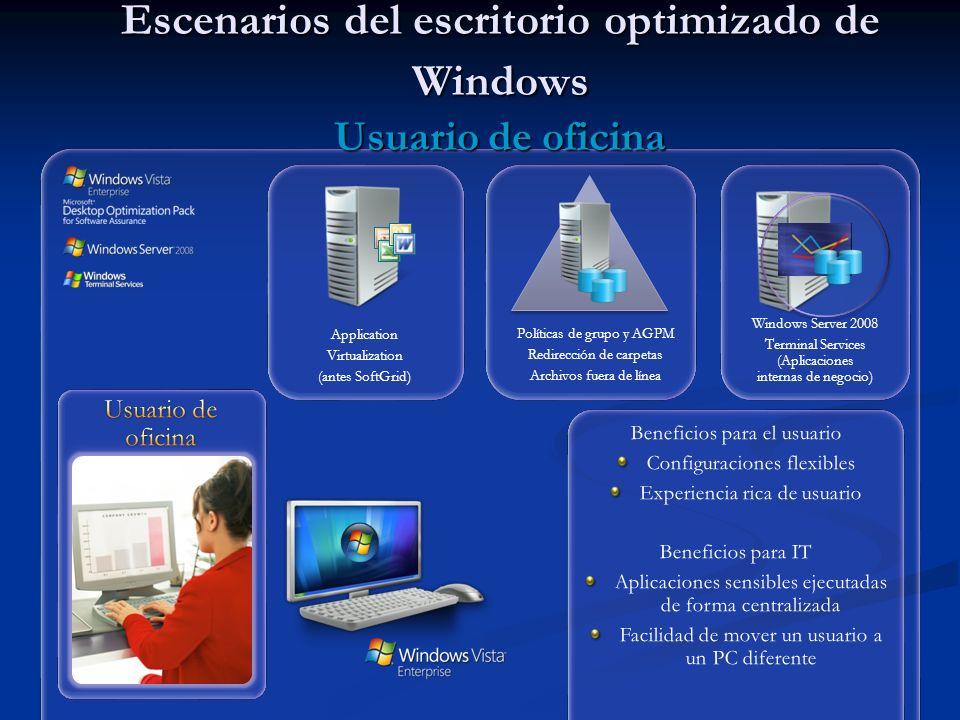 Escenarios del escritorio optimizado de Windows Usuario de oficina Políticas de grupo y AGPM Redirección de carpetas Archivos fuera de línea Windows Server 2008 Terminal Services (Aplicaciones internas de negocio) Application Virtualization (antes SoftGrid)