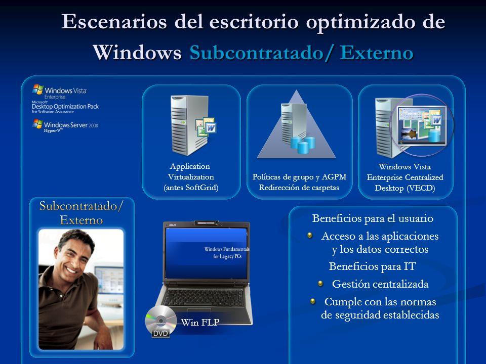 Application Virtualization (antes SoftGrid) Win FLP Escenarios del escritorio optimizado de Windows Subcontratado/ Externo Windows Vista Enterprise Ce