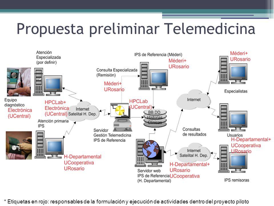 Propuesta preliminar Telemedicina * Etiquetas en rojo: responsables de la formulación y ejecución de actividades dentro del proyecto piloto