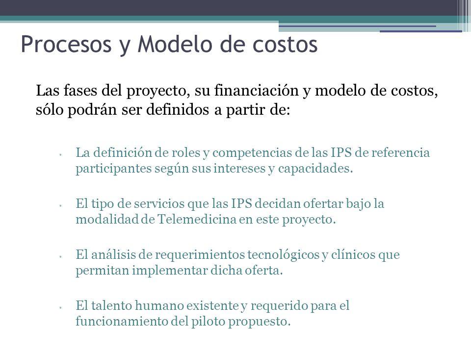 Procesos y Modelo de costos Las fases del proyecto, su financiación y modelo de costos, sólo podrán ser definidos a partir de: La definición de roles y competencias de las IPS de referencia participantes según sus intereses y capacidades.