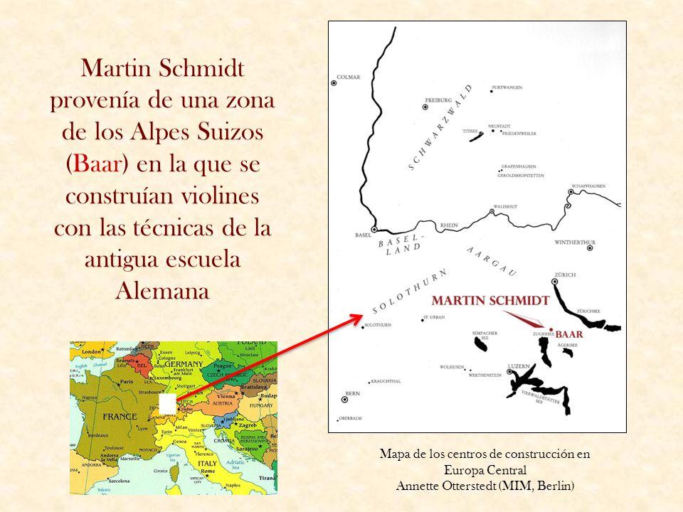 Martin Schmidt provenía de una zona de los Alpes Suizos (Baar) en la que se construían violines con las técnicas de la antigua escuela Alemana Mapa de
