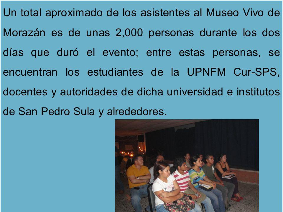 Un total aproximado de los asistentes al Museo Vivo de Morazán es de unas 2,000 personas durante los dos días que duró el evento; entre estas personas