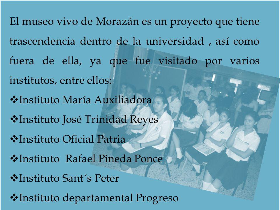 El museo vivo de Morazán es un proyecto que tiene trascendencia dentro de la universidad, así como fuera de ella, ya que fue visitado por varios insti