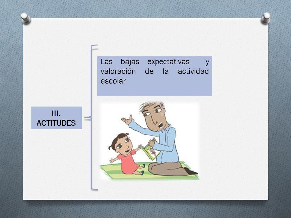III. ACTITUDES Las bajas expectativas y valoración de la actividad escolar