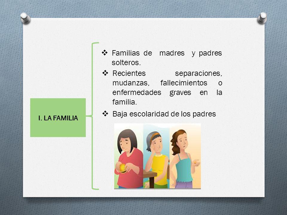 Familias de madres y padres solteros. Recientes separaciones, mudanzas, fallecimientos o enfermedades graves en la familia. Baja escolaridad de los pa