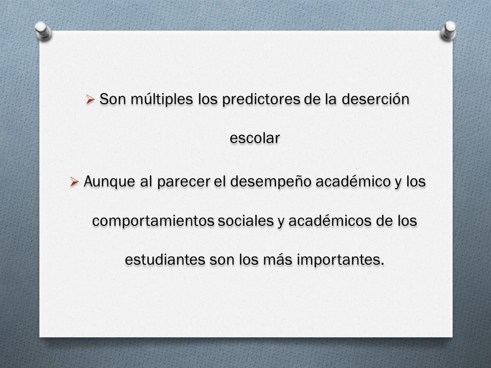 Son múltiples los predictores de la deserción escolar Aunque al parecer el desempeño académico y los comportamientos sociales y académicos de los estu
