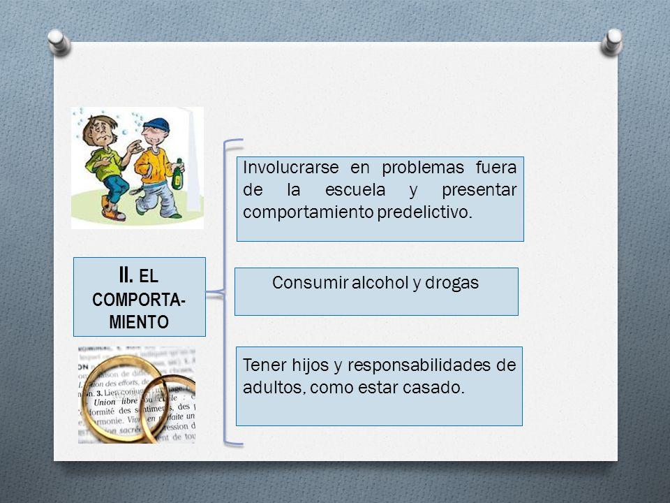 II. EL COMPORTA- MIENTO Involucrarse en problemas fuera de la escuela y presentar comportamiento predelictivo. Tener hijos y responsabilidades de adul
