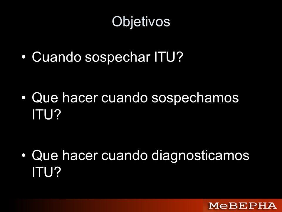 Objetivos Cuando sospechar ITU? Que hacer cuando sospechamos ITU? Que hacer cuando diagnosticamos ITU?