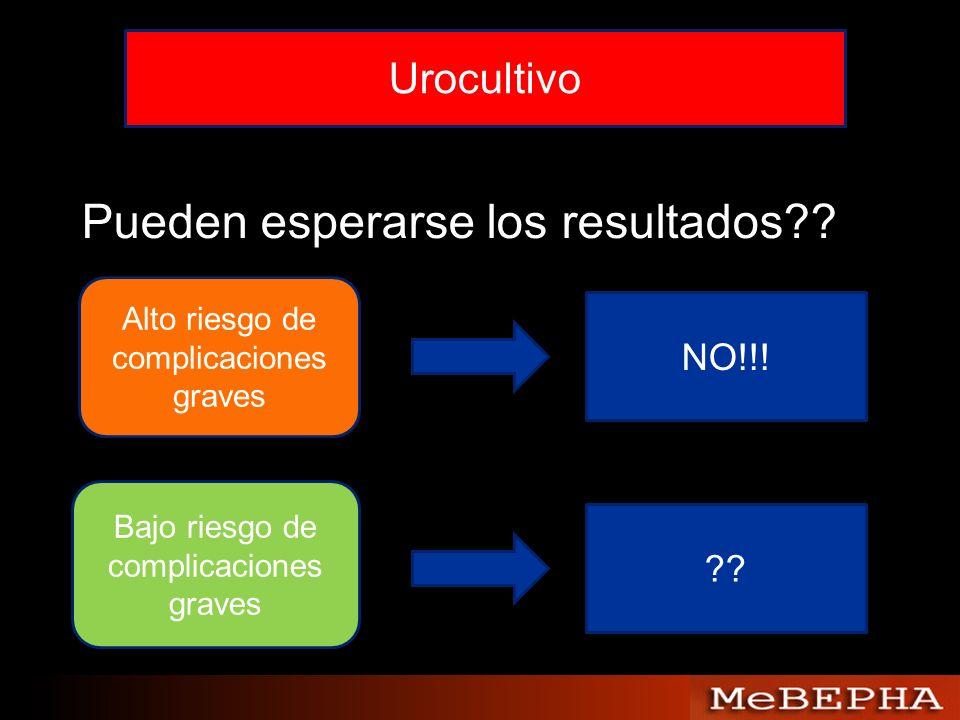 Pueden esperarse los resultados?? Alto riesgo de complicaciones graves NO!!! Bajo riesgo de complicaciones graves ??