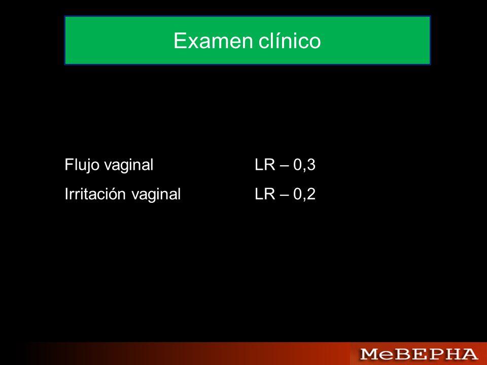Flujo vaginalLR – 0,3 Irritación vaginalLR – 0,2 Examen clínico